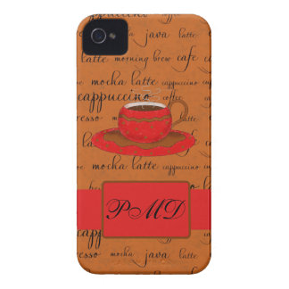 Red Brown Coffee Cup Art Script Words Backgtround iPhone 4 Case-Mate Case