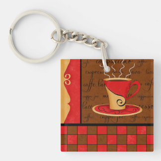 Red Brown Coffee Cup Checkerboard Art Customizable Keychain