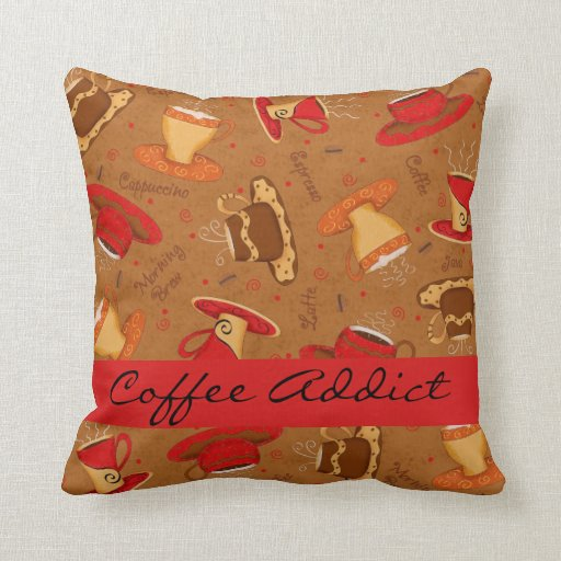 Custom Down Throw Pillows : Red & Brown Coffee Cup Coffee Addict Custom Throw Pillow Zazzle