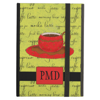 Red Brown Coffee Cup Lime Green Script Monogram iPad Air Cover