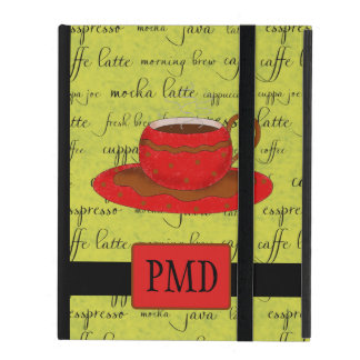 Red Brown Coffee Cup Lime Green Script Monogram iPad Cover