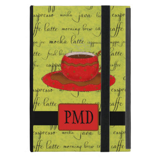 Red Brown Coffee Cup Lime Green Script Monogram iPad Mini Cover