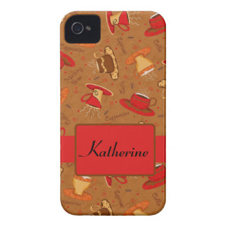 Red Brown Coffee Cup Pattern Custom Name Case-Mate iPhone 4 Case