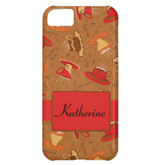 Red Brown Coffee Cup Pattern Custom Name iPhone 5C Cover