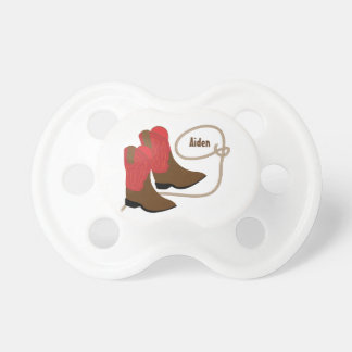 Red & Brown Cowboy Boots & Rope, Personalized Pacifier
