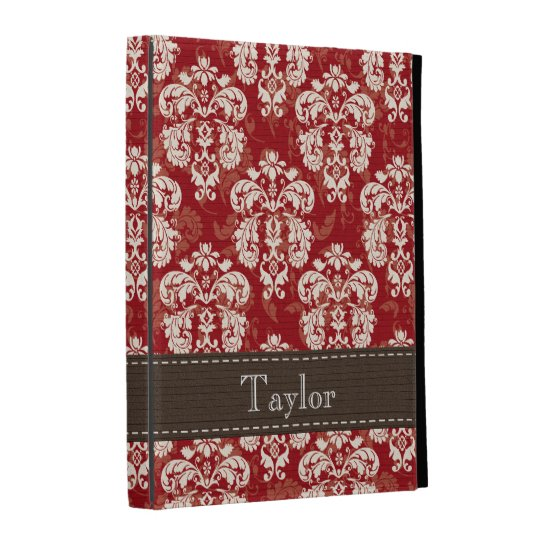 Red Brown Cream Damask iPad Folio Case Cover