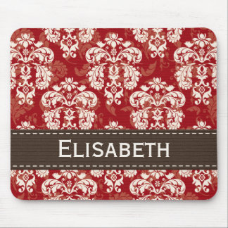Red Brown Cream Damask Mousepad