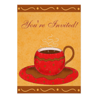 Red Brown Cup Customized Coffee Event Invite