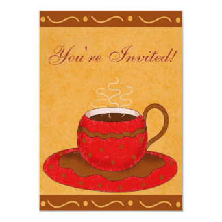 "Red & Brown Cup Customized Coffee Event 5"" X 7"" Invitation Card"