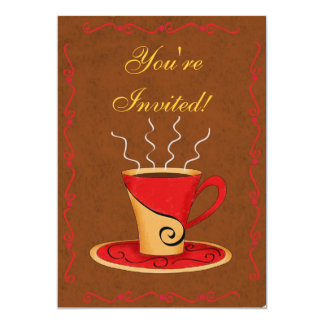 "Red & Brown Customized Coffee Cup Event 5"" X 7"" Invitation Card"