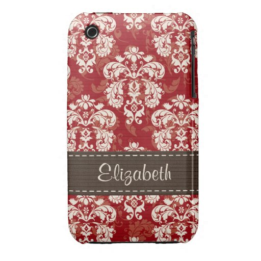 Red Brown Damask 3g 3gs Case-Mate Case Cover