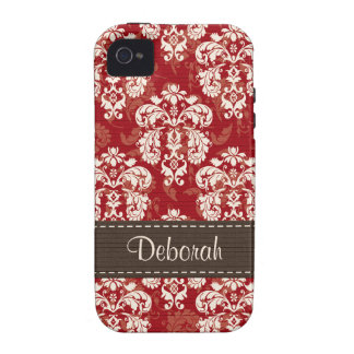 Red Brown Damask iPhone 4 Case Mate Tough