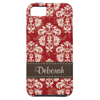 Red Brown Damask iPhone 5 Case Mate Tough