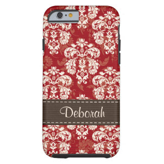 Red Brown Damask iPhone 6 Tough iPhone 6 Case