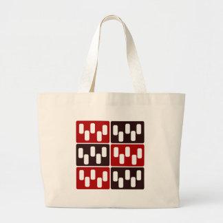 Red & Brown Domino Design Large Tote Bag