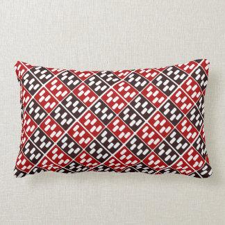 Red & Brown Domino Design Lumbar Pillow