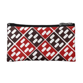 Red & Brown Domino Design Makeup Bag