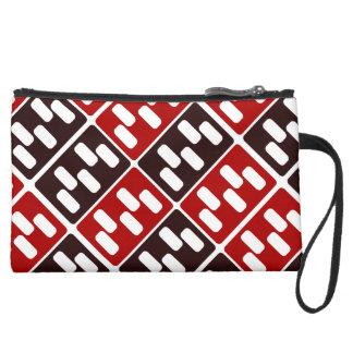 Red & Brown Domino Design Suede Wristlet
