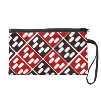 Red & Brown Domino Design Wristlet