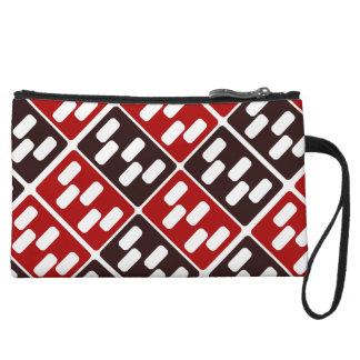 Red & Brown Domino Design Wristlet Wallet