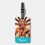 """Red brown face photo """"your name here"""" luggage tag"""