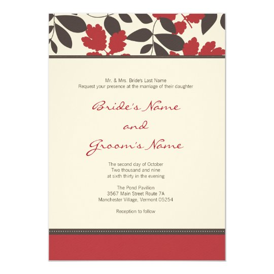 Red + Brown Fall Wedding Invitation