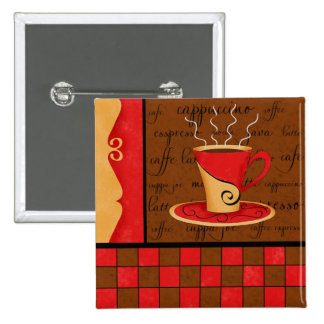 Red Brown Gold Espresso Coffee Art Button