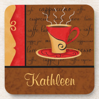 Red Brown Gold Espresso Coffee Art Custom Name Coaster
