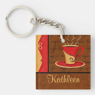 Red Brown Gold Espresso Coffee Art Custom Name Keychain