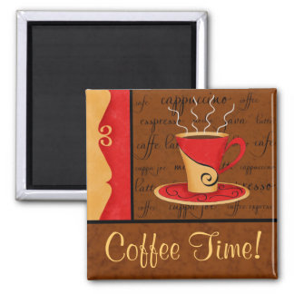 Red Brown Gold Espresso Coffee Art Custom Name Magnet