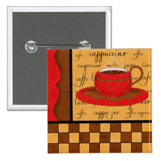 Red Brown Gold Whimsy Coffee Cup Art Button