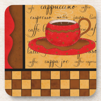 Red Brown Gold Whimsy Coffee Cup Art Beverage Coaster