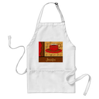 Red Brown Gold Whimsy Coffee Cup Art Custom Name Apron