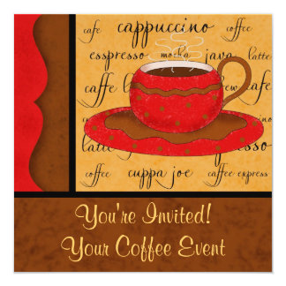 Red Brown Gold Whimsy Coffee Cup Art Custom Name Card