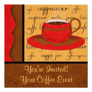 Red Brown Gold Whimsy Coffee Cup Art Custom Name Announcements