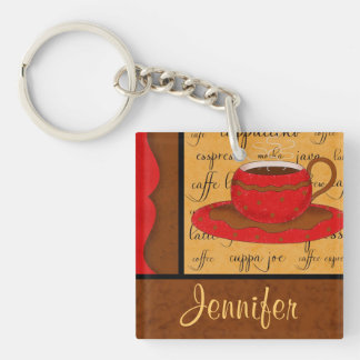 Red Brown Gold Whimsy Coffee Cup Art Custom Name Keychain
