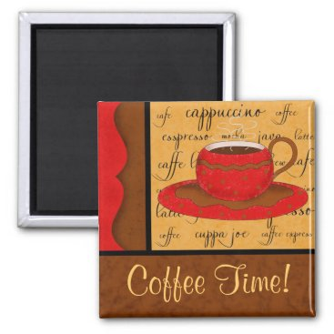 Coffee Themed Red Brown Gold Whimsy Coffee Cup Art Custom Name Magnet