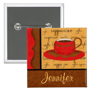 Red Brown Gold Whimsy Coffee Cup Art Custom Name Pinback Button