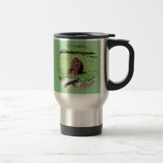 Red-Brown Haired Orangutan Sitting On Grass Mug