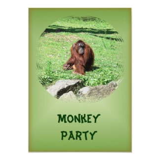 Red-Brown Haired Orangutan Sitting On Grass Party Card