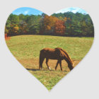 Red Brown horse in the  autumn trees Heart Sticker