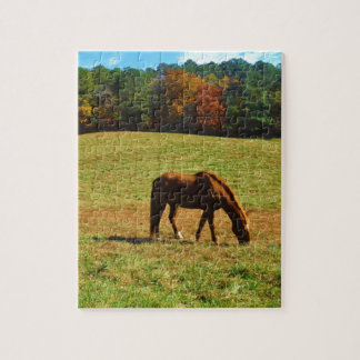 Red Brown horse in the autumn trees Jigsaw Puzzle