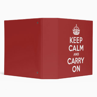 Red Brown Keep Calm and Carry On 3 Ring Binders
