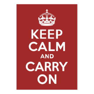 Red Brown Keep Calm and Carry On Business Card