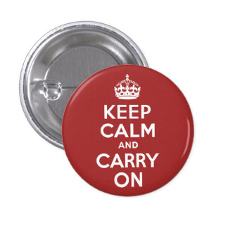 Red Brown Keep Calm and Carry On Button