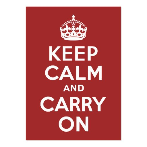 Red Brown Keep Calm and Carry On Large Business Cards (Pack Of 100)