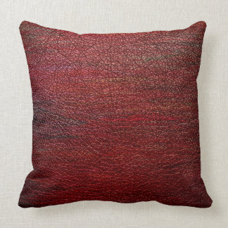 Red Brown Leather #2 Throw Pillows