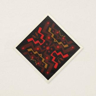 Red Brown Lightning Pattern Paper Napkins