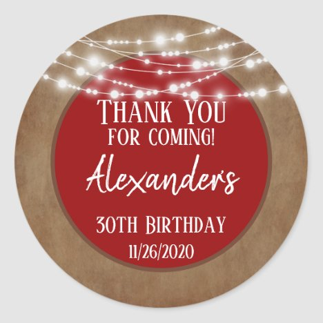 Red Brown Lights Thank You Birthday Favor Tag Mens