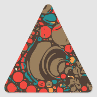 Red Brown Orange Abstract Triangle Sticker
